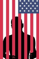 US flag prison bars